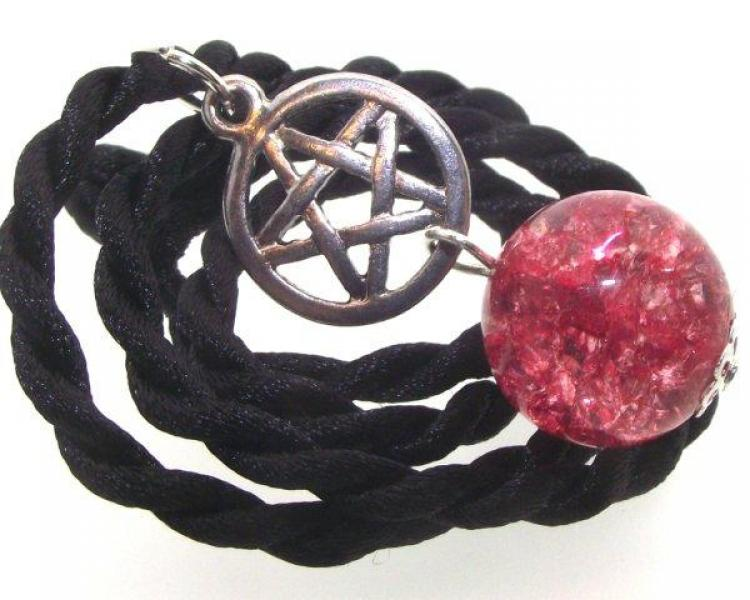 Red Crackle Quartz Pentacle Pendant