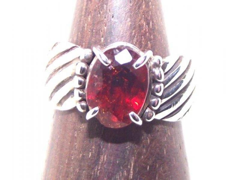 Red Garnet Ring Size P