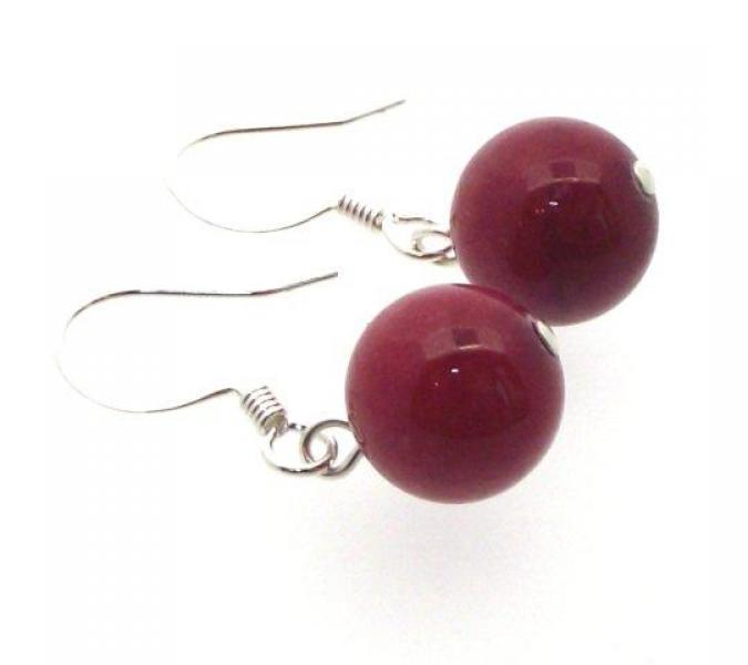 Red Jasper Gemstone Sphere Earrings