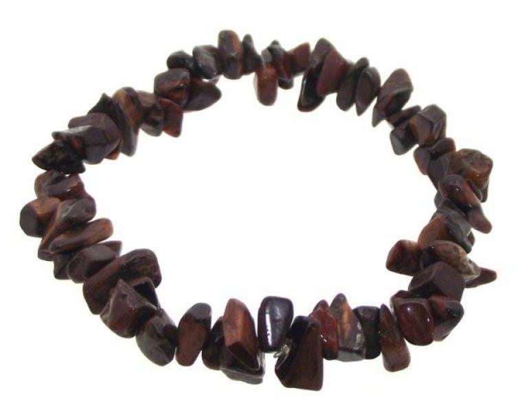 Red Tiger Eye Gemstone Chip Bracelet