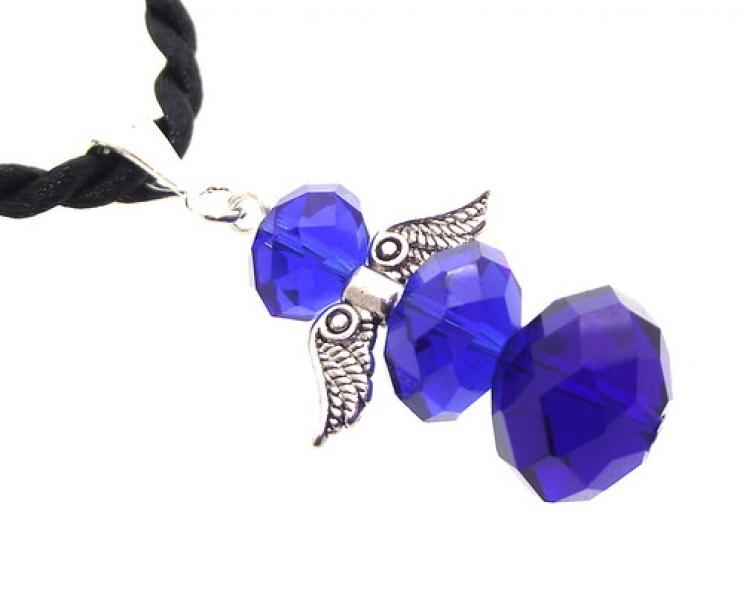 Siberian Blue Crystal Guardian Angel of Light Pendant