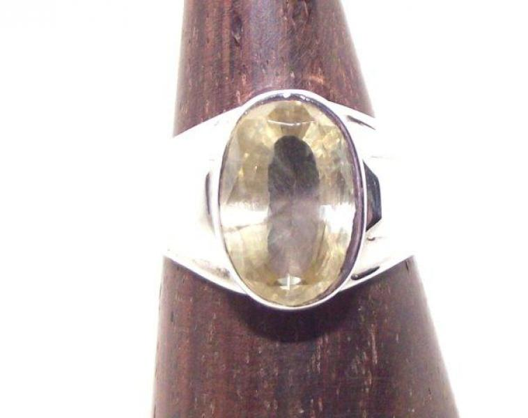 Simple Citrine Gemstone Ring Size Q