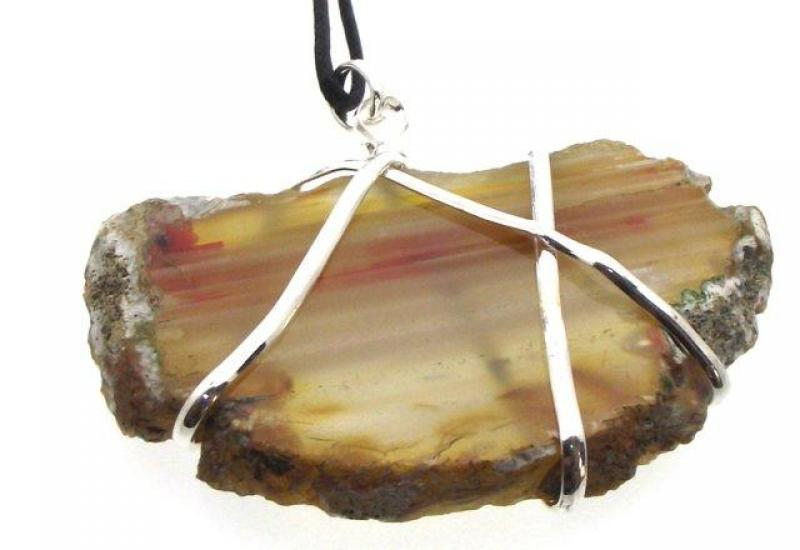 Sliced Indian Agate Wire Wrapped Pendant