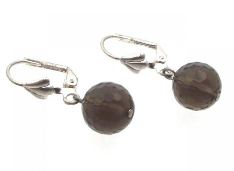 Smokey Quartz 10mm Facetted Earrings