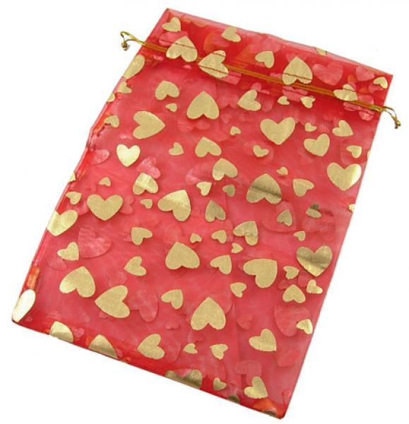 Organza St Valentines Day Red Love Heart Gift Pouch Bag