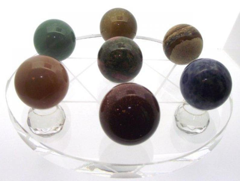 Star of David Grid plate with 7 Gemstone Spheres