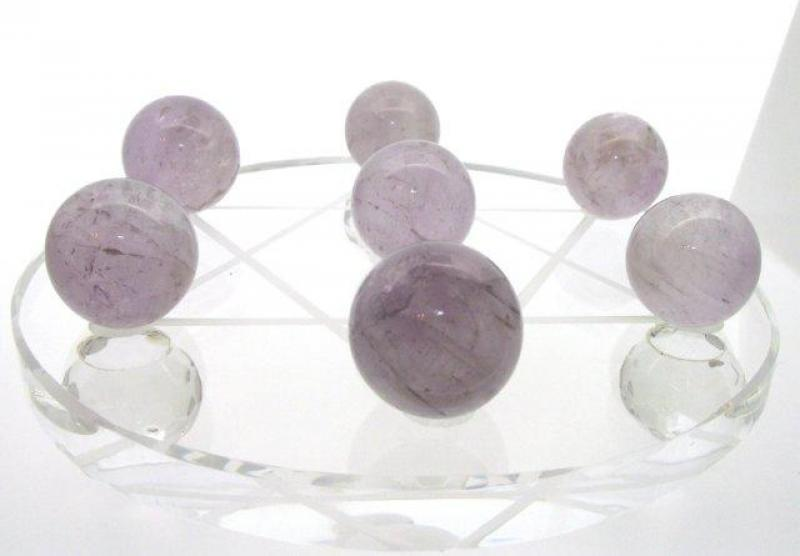 Star of David Grid plate with 7 Lilac Amethyst Spheres 1