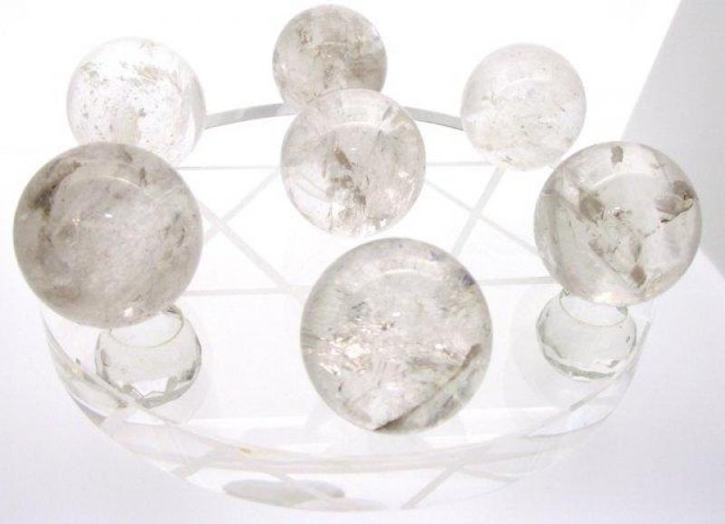 Star of David Grid plate with 7 Quartz Spheres 2
