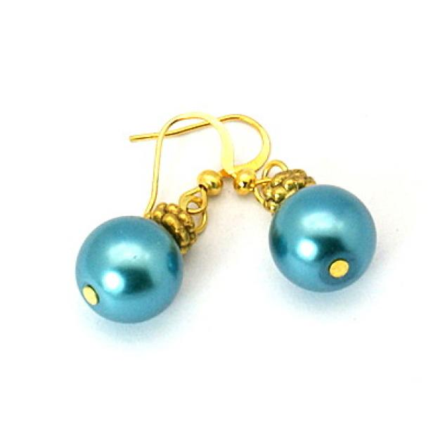 Teal Glass Pearl Tibetan Styled Earrings
