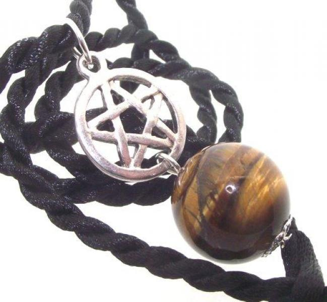 Tiger Eye Gemstone Pentacle Pendant