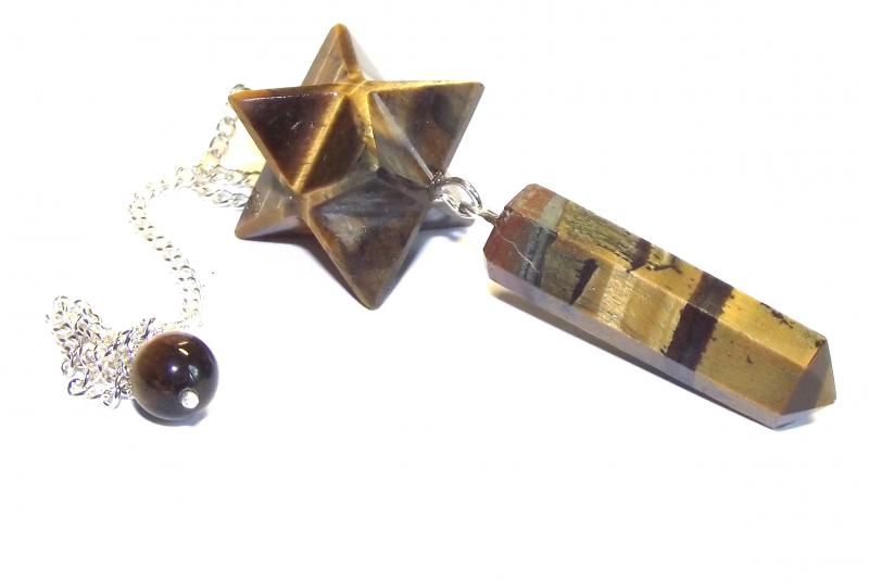 Tigers Eye Merkaba Point Gemstone / Crystal Pendulum