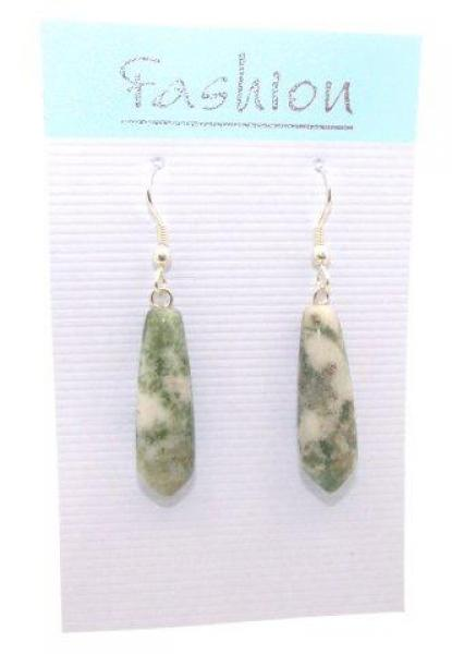 Tree Agate Polished Gemstone Droplet Earrings