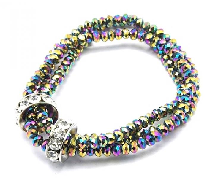 Triple Row Titanium Quartz Bracelet With Bling