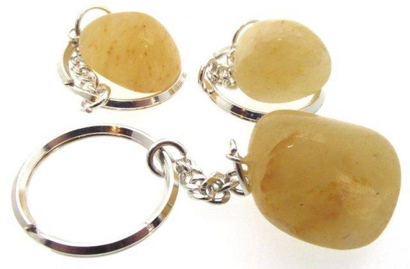 Himalayan Golden Quartz Tumbled Gemstone Key Ring