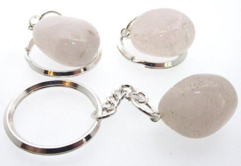 Rose Quartz Tumbled Gemstone Key Ring