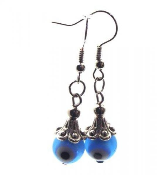 Turquoise Blue Evil Eye Lampwork Glass Earrings