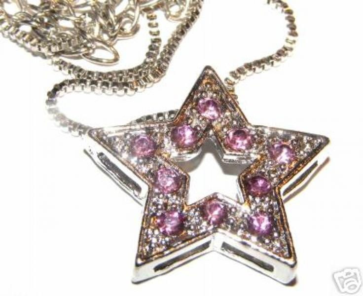 "Violet Flame Crystal Star Pendant With 18"" Box Chain"