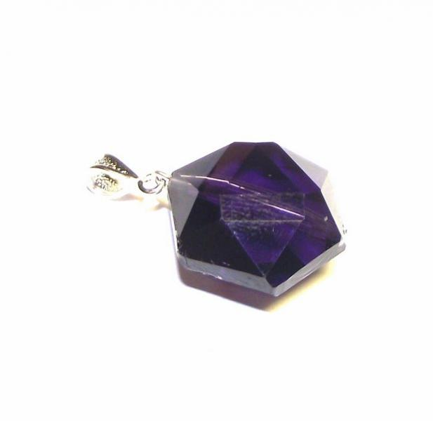 Violet Ray Andara Crystal Hexagon Pendant with Silk Cord