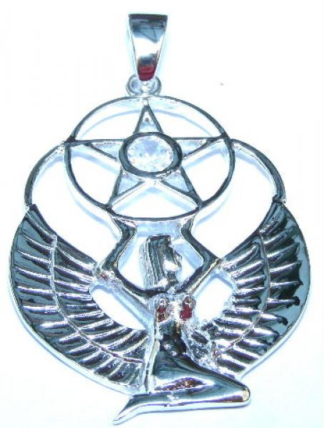 Winged Isis Goddess Pendant With Facetted Clear Quartz