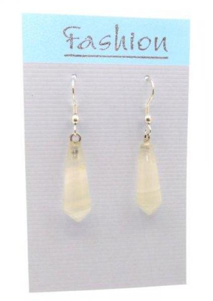 White Agate Polished Gemstone Droplet Earrings