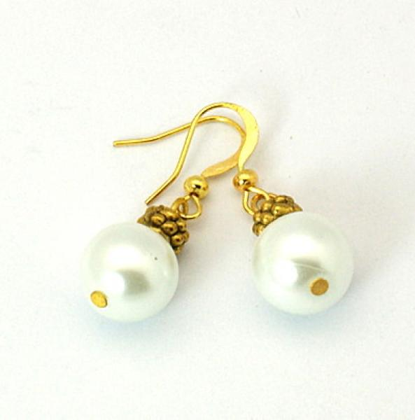 White Glass Pearl Tibetan Styled Earrings