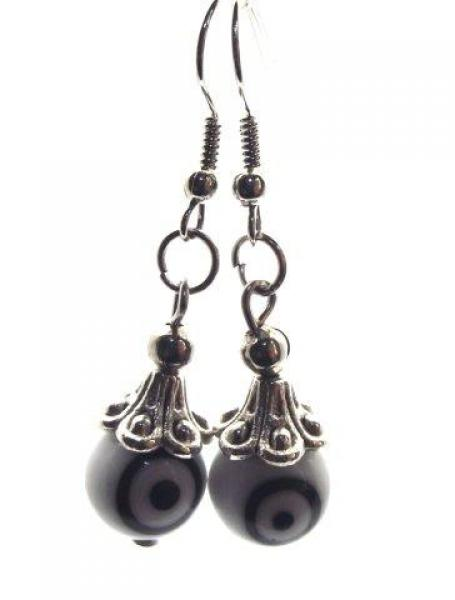 White and Black Evil Eye Lampwork Glass Earrings