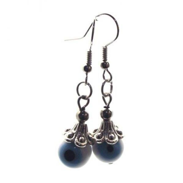 White and Blue Evil Eye Lampwork Glass Earrings