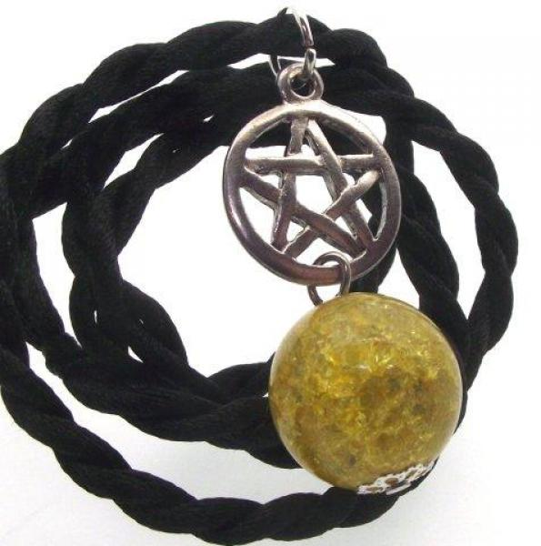 Yellow Crackle Quartz Pentacle Pendant