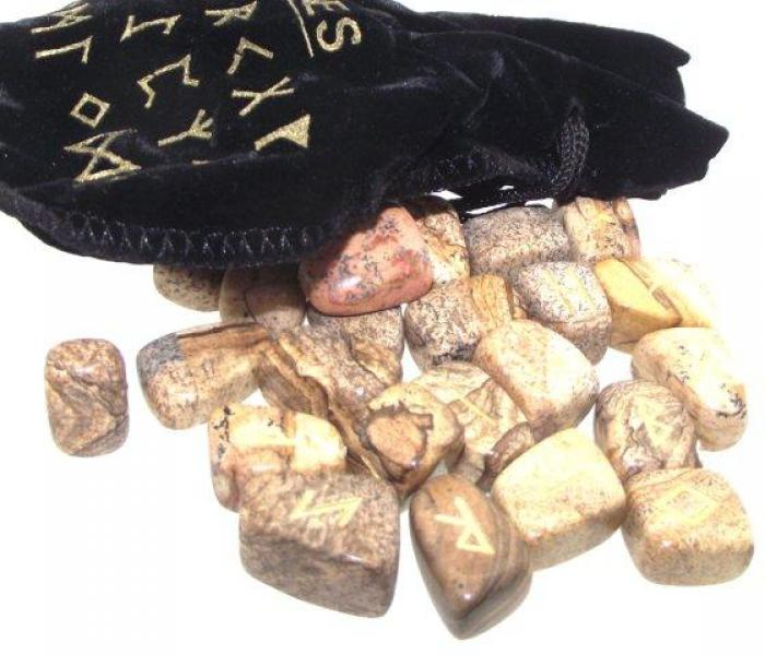 Yellow Jasper Elder Futhark Rune Set with Pouch