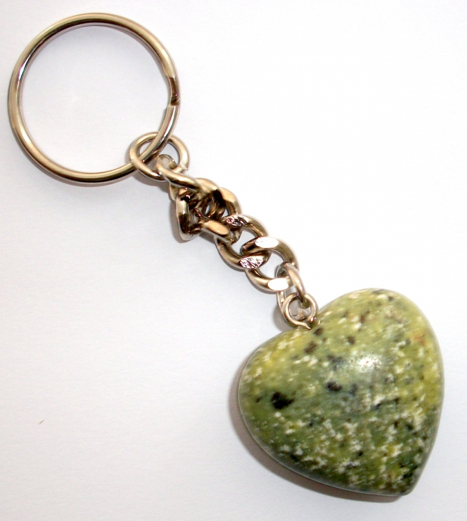 African Turquoise Gemstone Heart Keyring