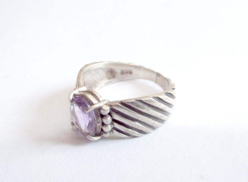 Amethyst Fancy Sterling Silver Gemstone Ring - Size R