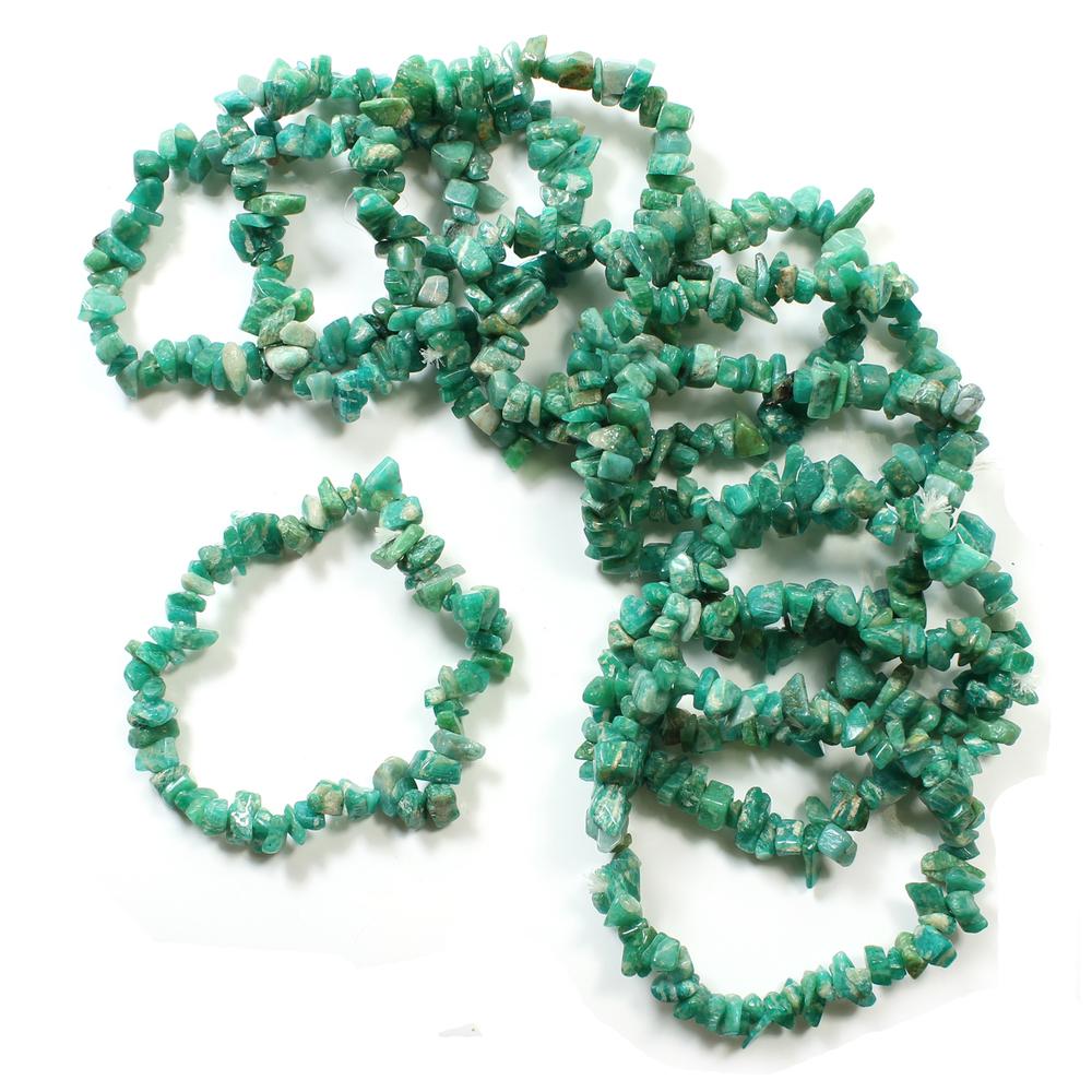 Green Gemstone Chips Bracelet 7.5 Peridot Chips bracelet Hand Made Gemstone Chips