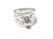 Amethyst Cabachon Sterling Silver Scroll Ring - P