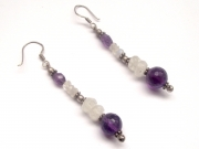 Amethyst Sphere and Rainbow Moonstone Facetted Sterling Silver Earrings