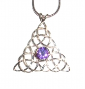 Amethyst Triquetra Inspired Pendant with Chain