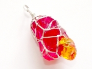 Fire Andara Wire Wrapped Pendant