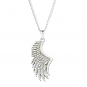 Angel Wing Sterling Silver Pendant with Curb Chain