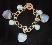 Opalite Heart and Sphere Facetted Charm Bracelet