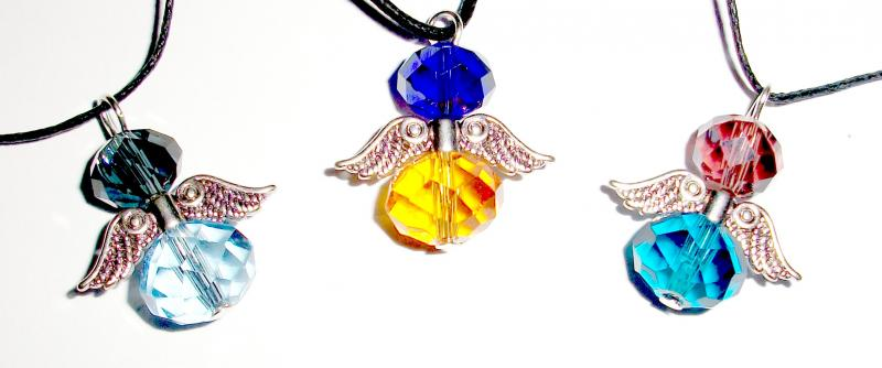 Assorted Crystal Guardian Angel Of Light Pendant