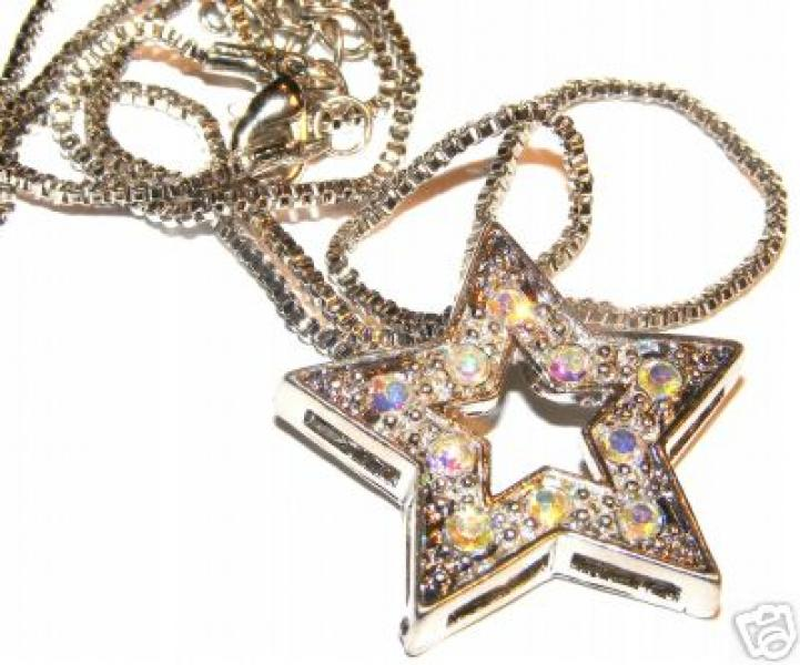 "Aurora Borealis Crystal Star Pendant With 18"" Box Chain"