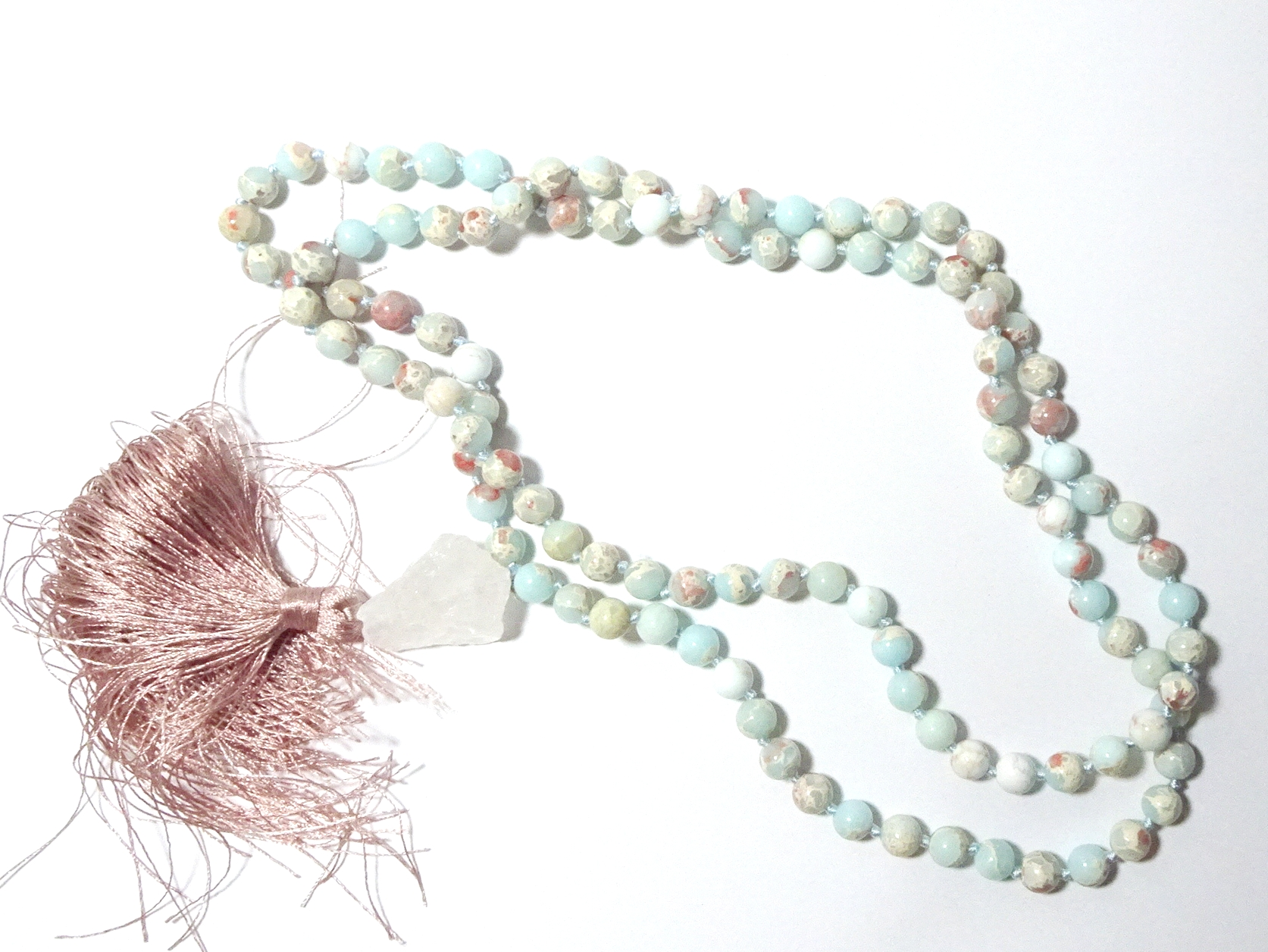 Aqua Terra Jasper Gemstone Mala Prayer Beads - 108 - with Pouch