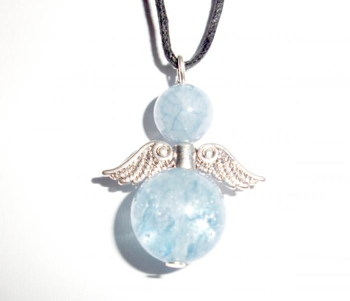 Aquamarine Angel Wings of Light Gemstone Pendant