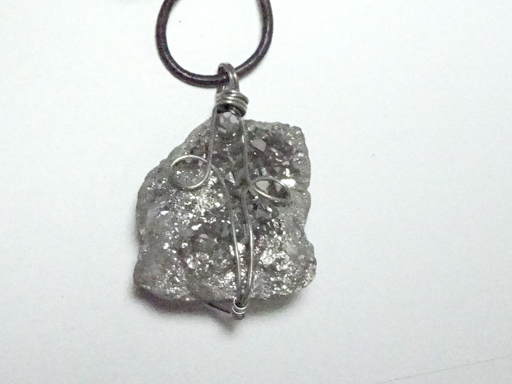 Silver Aura Geode Wire Wrapped Pendant 3