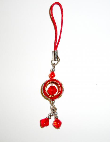 Red Hoop Cloisenne Handbag / Mobile Phone Charm