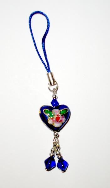 Blue Heart - Cloisenne Handbag / Mobile Phone Charm