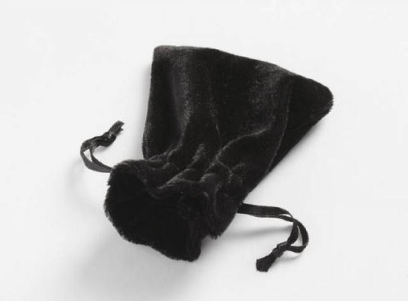Soft Velvet Black Drawstring Pouch