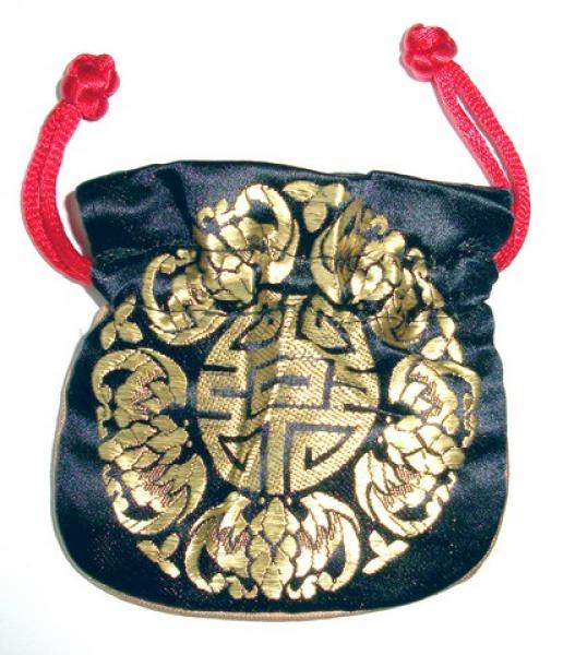 Gold Embossed Black Chinese Silk Brocade Pouch