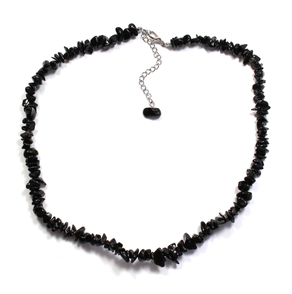 "Black Obsidian 18"" Chip Gemstone Necklace"