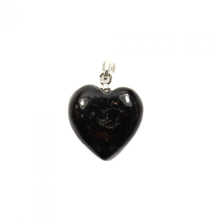Black Tourmaline Sterling Silver Heart Pendant