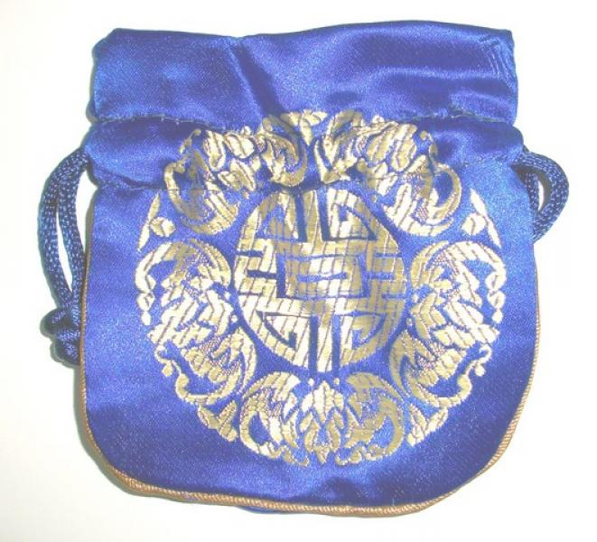 Gold Embossed Blue Chinese Silk Brocade Pouch